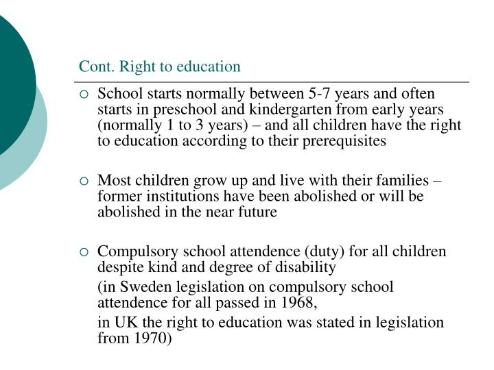 Cont. Right to education