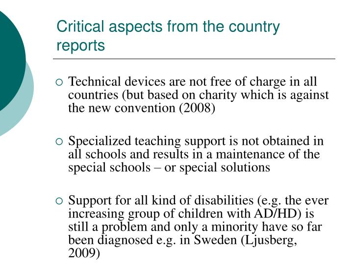Critical aspects from the country reports