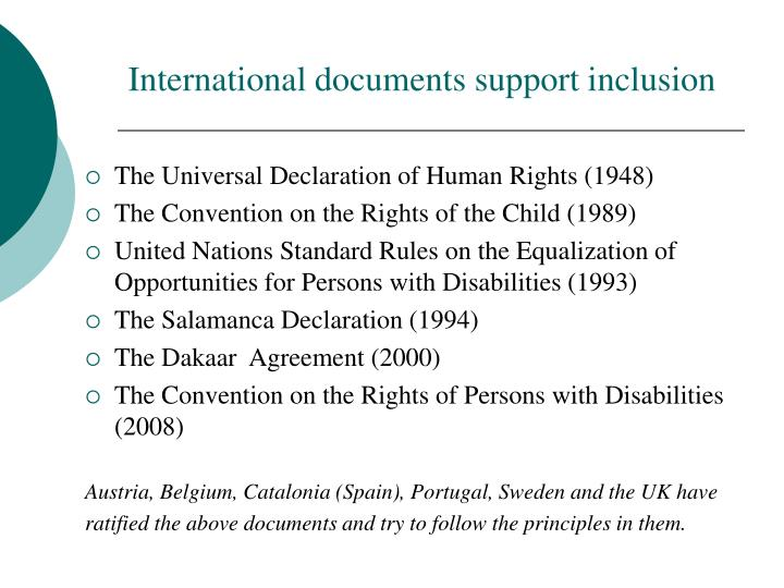 International documents support inclusion