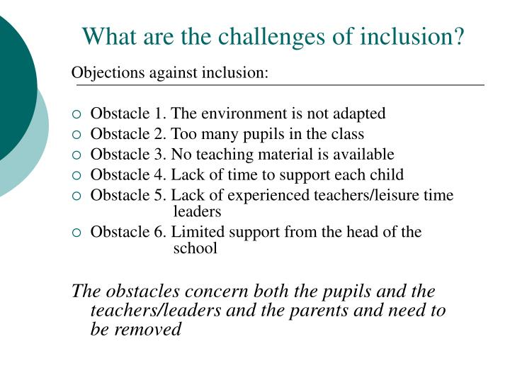 What are the challenges of inclusion?