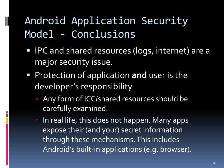 Android Application Security Model - Conclusions