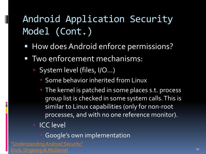 Android Application Security Model (Cont.)