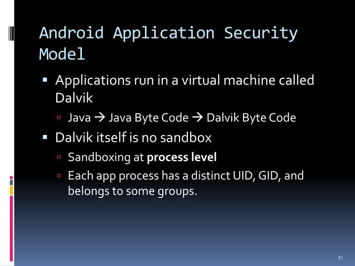 Android Application Security Model