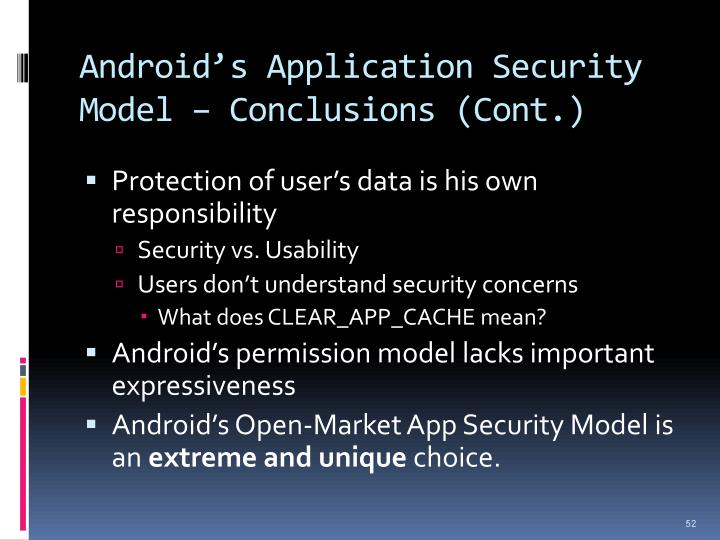 Android's Application Security Model – Conclusions (Cont.)