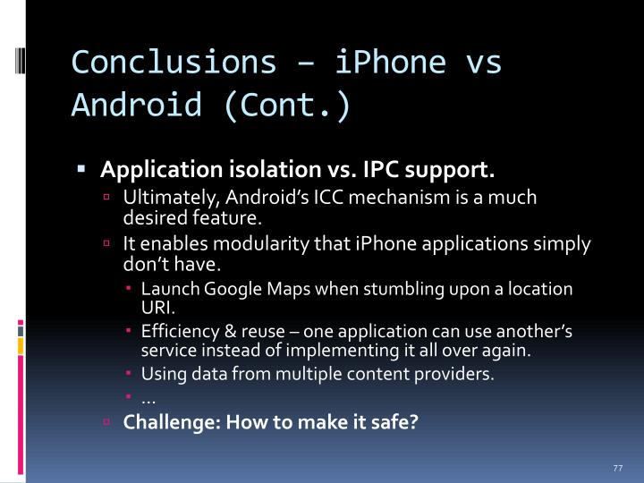 Conclusions – iPhone