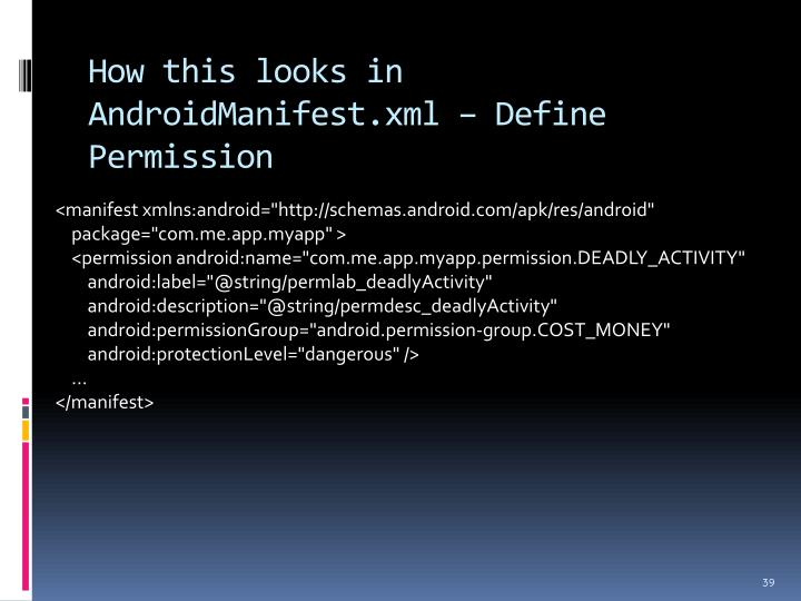 How this looks in AndroidManifest.xml – Define Permission
