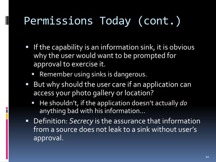 Permissions Today (cont.)