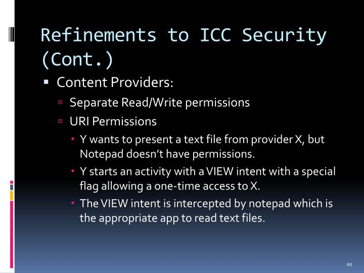 Refinements to ICC Security (Cont.)