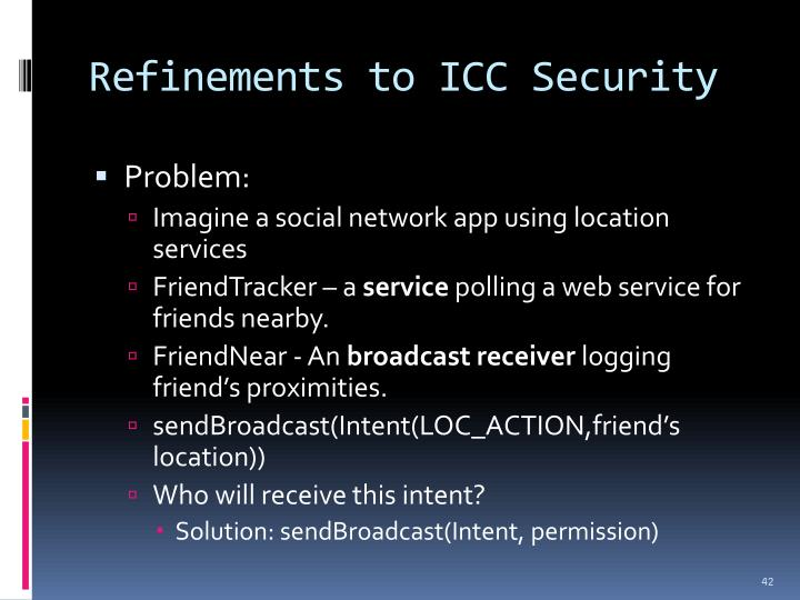 Refinements to ICC Security