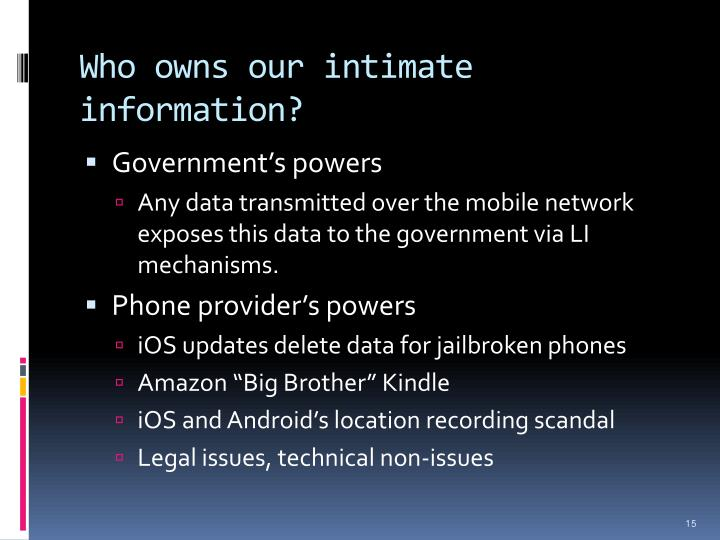 Who owns our intimate information?