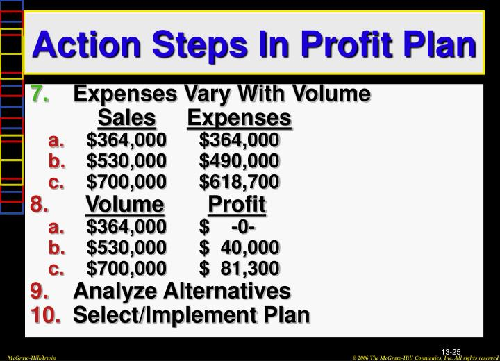 Action Steps In Profit Plan