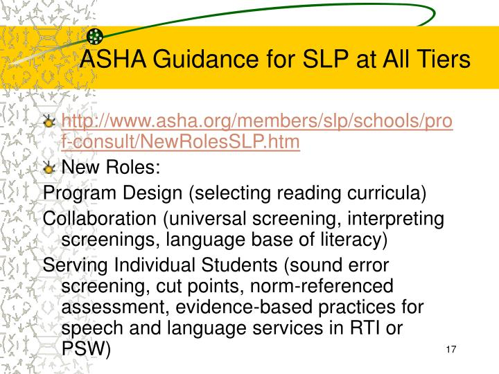 ASHA Guidance for SLP at All Tiers