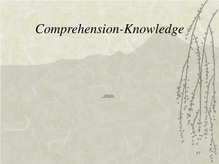 Comprehension-Knowledge