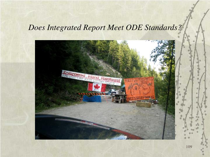 Does Integrated Report Meet ODE Standards?