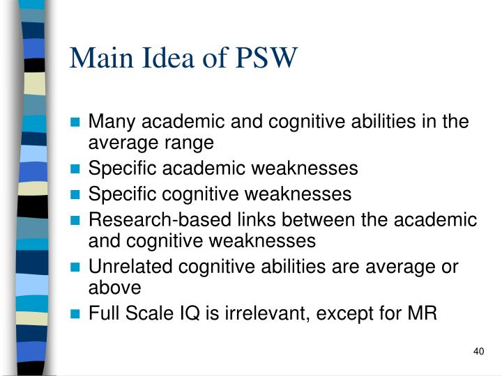 Main Idea of PSW