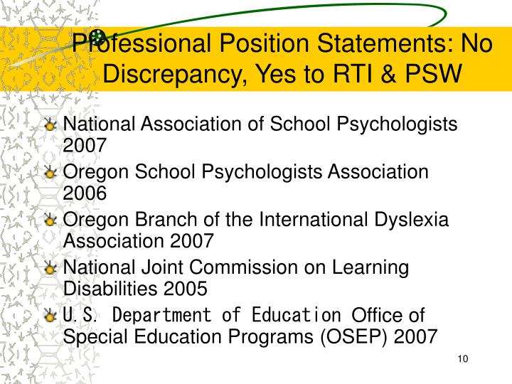 Professional Position Statements: No Discrepancy, Yes to RTI & PSW