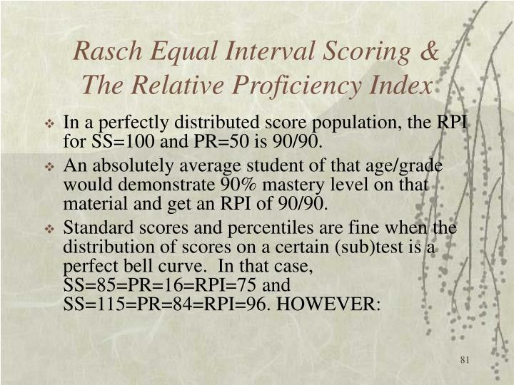 Rasch Equal Interval Scoring &