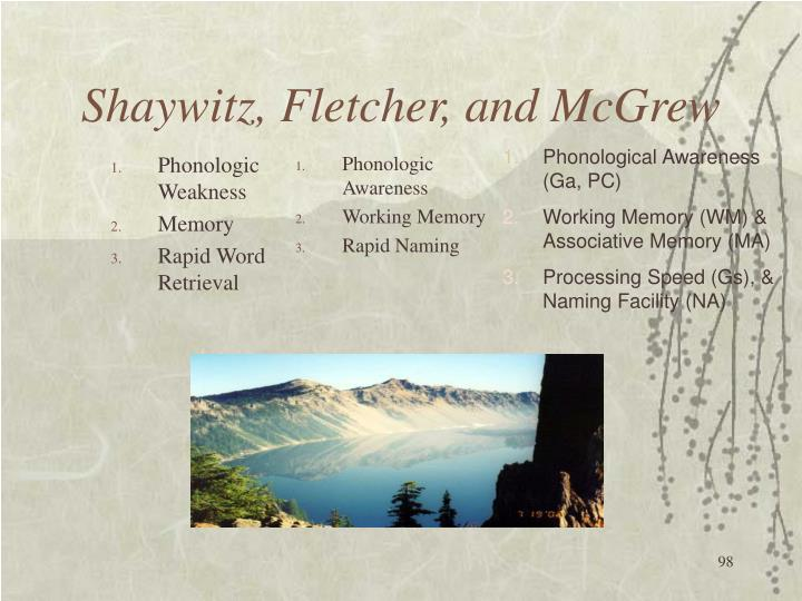 Shaywitz, Fletcher, and McGrew