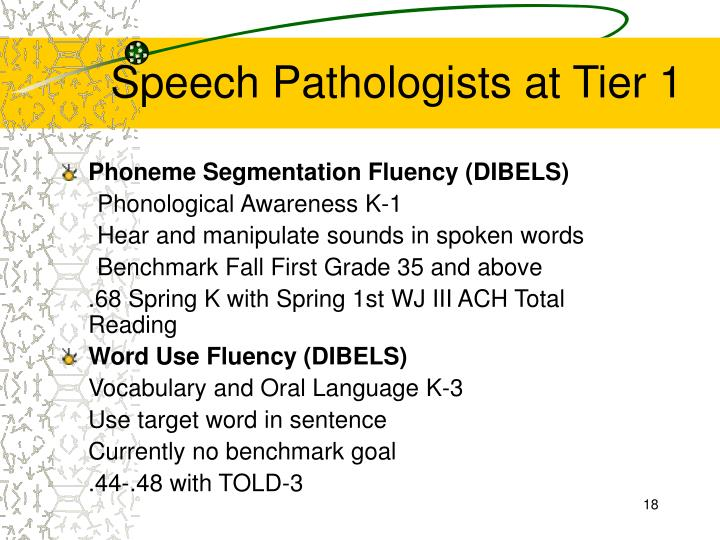 Speech Pathologists at Tier 1