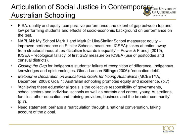 Articulation of Social Justice in Contemporary Australian Schooling