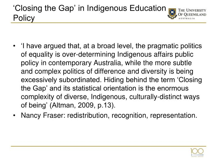 'Closing the Gap' in Indigenous Education Policy