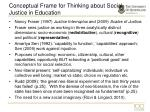 conceptual frame for thinking about social justice in education