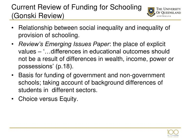 Current Review of Funding for Schooling (Gonski Review)