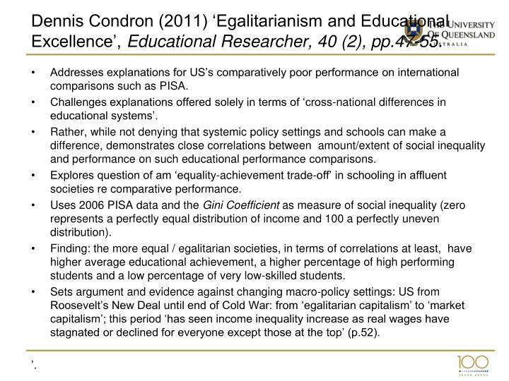 Dennis Condron (2011) 'Egalitarianism and Educational Excellence',