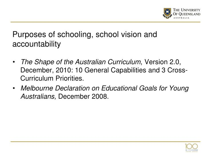 Purposes of schooling, school vision and accountability