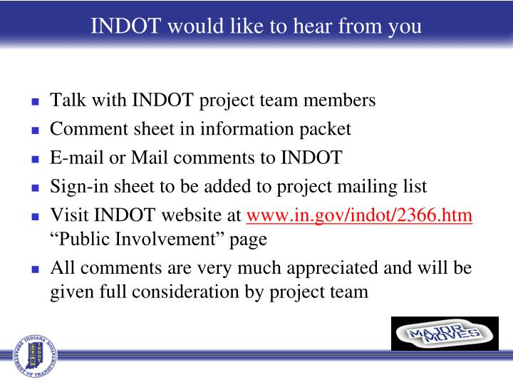 Talk with INDOT project team members