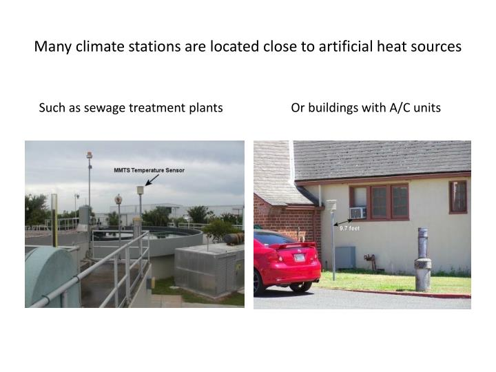 Many climate stations are located close to artificial heat sources