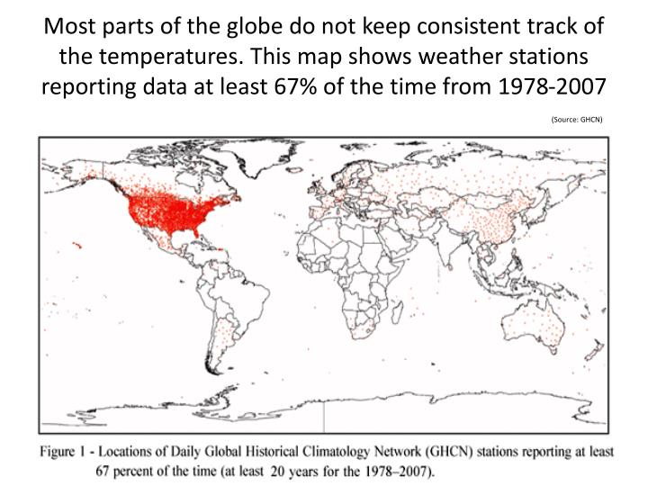 Most parts of the globe do not keep consistent track of the temperatures. This map shows weather stations reporting data at least 67% of the time from 1978-2007