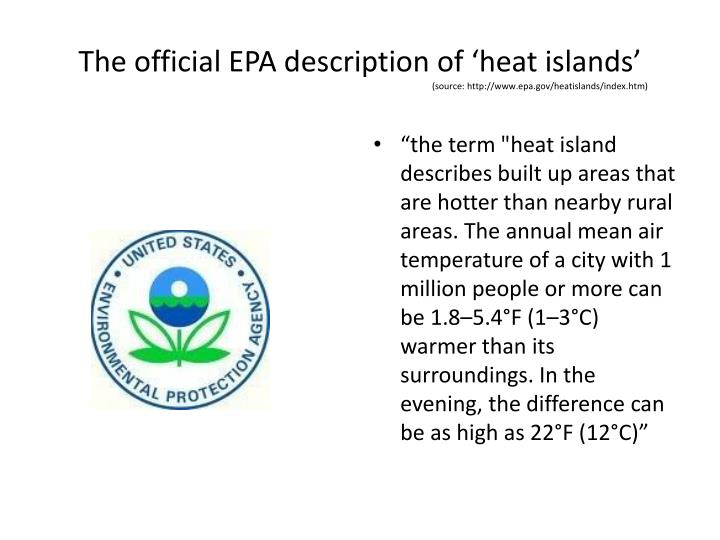 The official EPA description of 'heat islands'