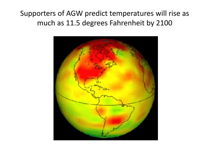 Supporters of AGW predict temperatures will rise as much as 11.5 degrees Fahrenheit by 2100
