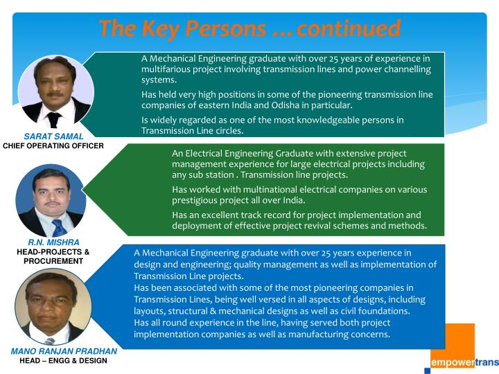 The Key Persons …continued
