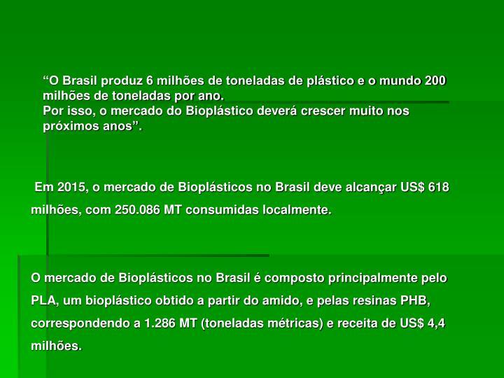 """""""O Brasil produz 6 milhões de toneladas de plástico e o mundo 200 milhões de toneladas por ano."""