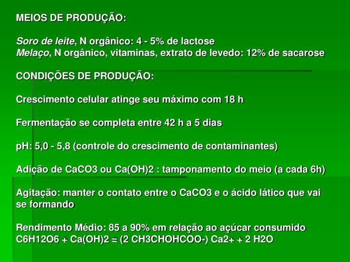 MEIOS DE PRODUÇÃO:
