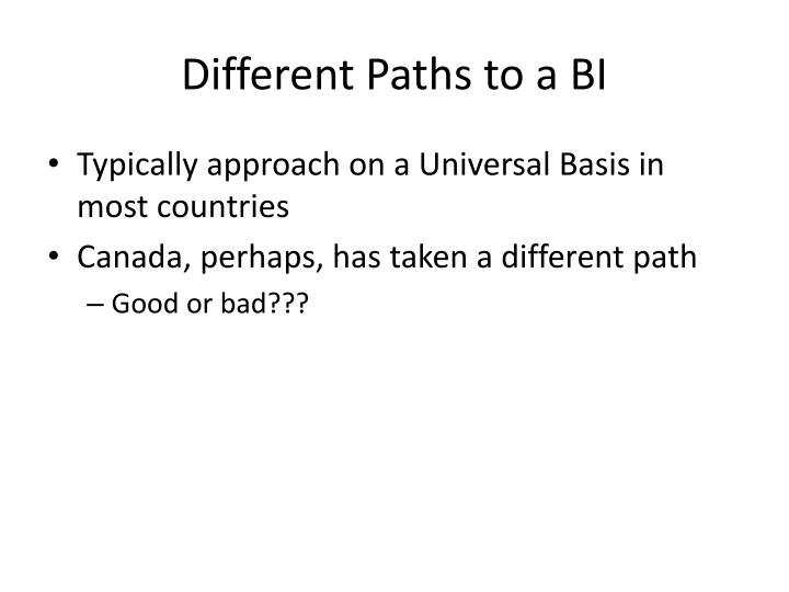Different Paths to a BI