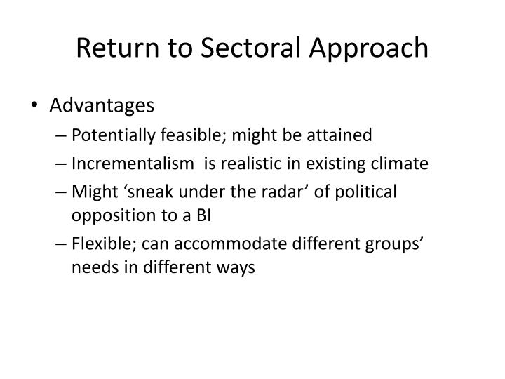 Return to Sectoral Approach