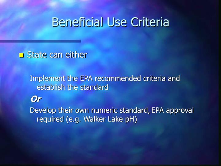 Beneficial Use Criteria