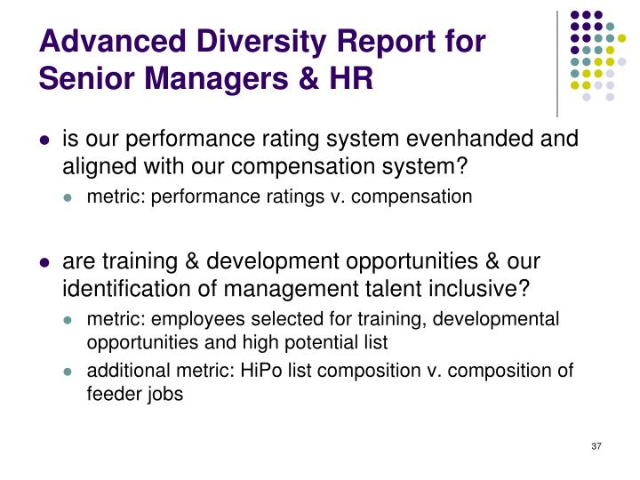 Advanced Diversity Report for Senior Managers & HR