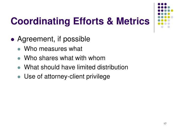 Coordinating Efforts & Metrics