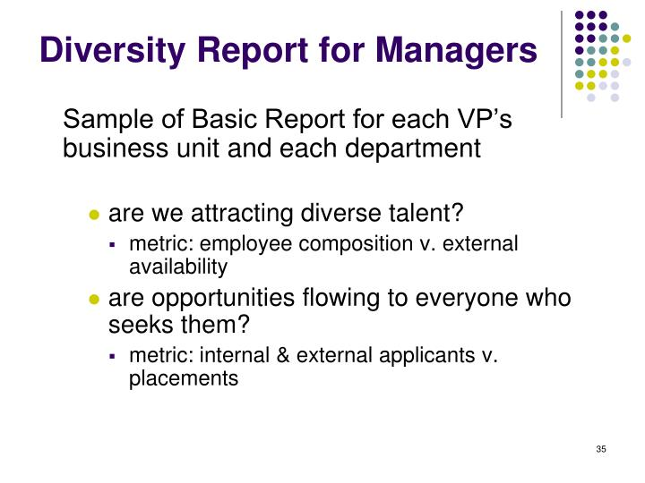Diversity Report for Managers