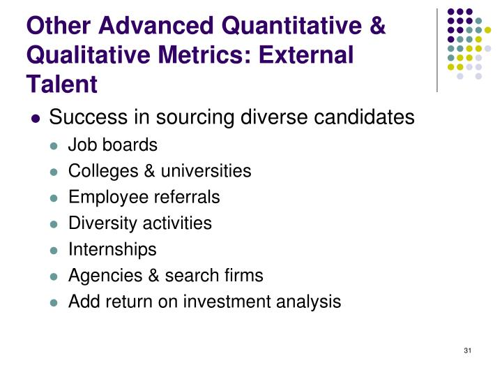 Other Advanced Quantitative & Qualitative Metrics: External Talent