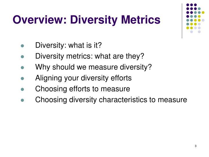 Overview: Diversity Metrics