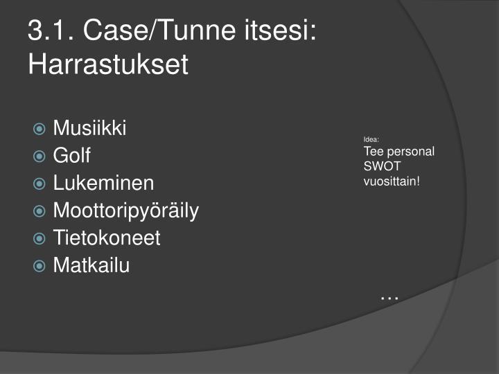 3.1. Case/Tunne itsesi: Harrastukset