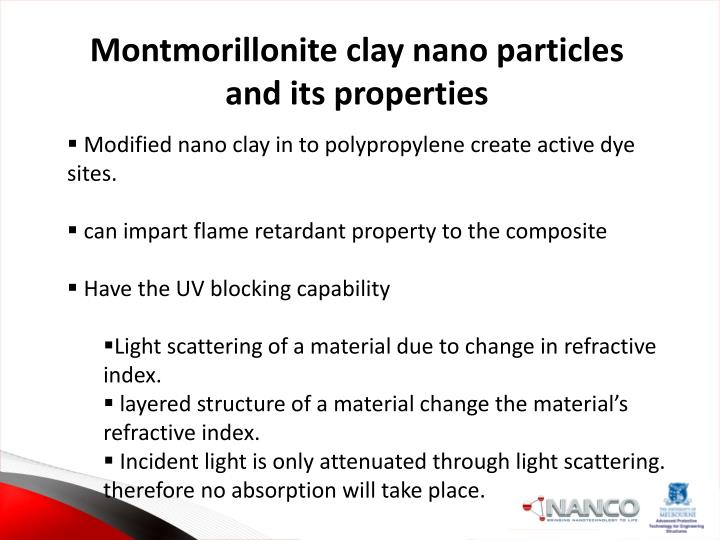 Montmorillonite clay nano particles and its properties