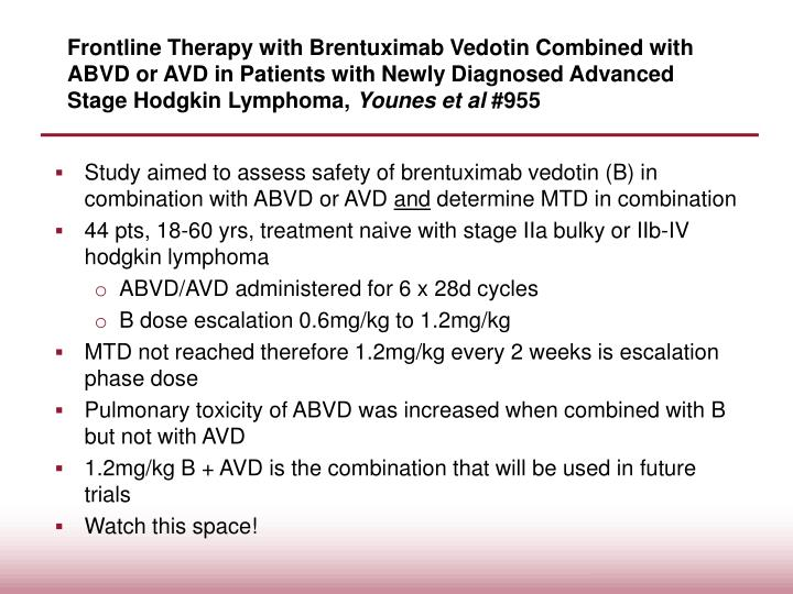 Frontline Therapy with Brentuximab Vedotin Combined with ABVD or AVD in Patients with Newly Diagnosed Advanced Stage Hodgkin Lymphoma,