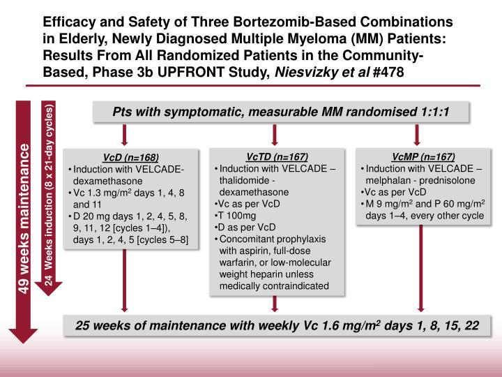 Efficacy and Safety of Three Bortezomib-Based Combinations in Elderly, Newly Diagnosed Multiple Myeloma (MM) Patients: Results From All Randomized Patients in the Community-Based, Phase 3b UPFRONT Study,