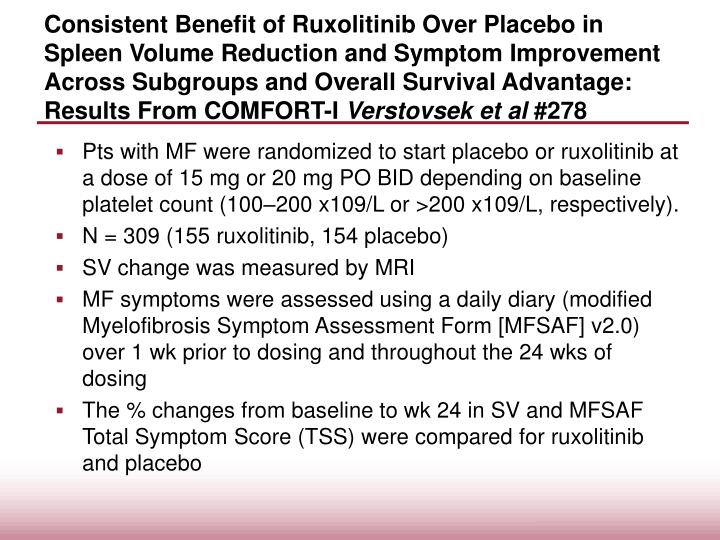 Consistent Benefit of Ruxolitinib Over Placebo in Spleen Volume Reduction and Symptom Improvement Across Subgroups and Overall Survival Advantage: Results From COMFORT-I